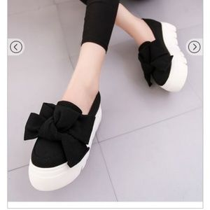 Shoes - Bow Tie Flatform Loafers/ Slippers with wedge